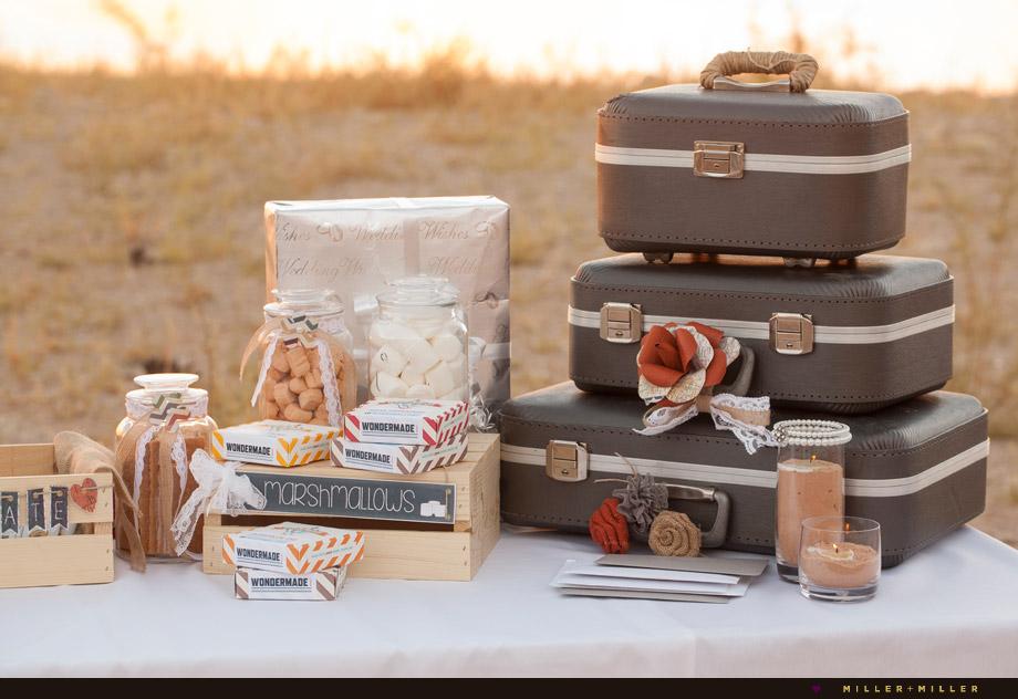 vintage suitcases outdoor desert wedding
