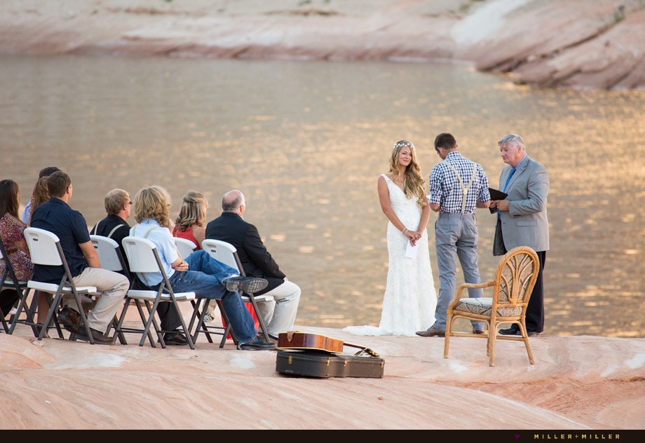 waterfront sunset ceremony Lake Powell Arizona Utah