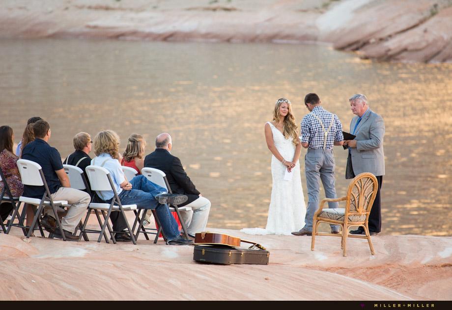 waterfront sunset ceremony Lake Powell Arizona Utah