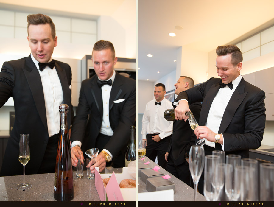 black tie affair groom toasting groomsmen