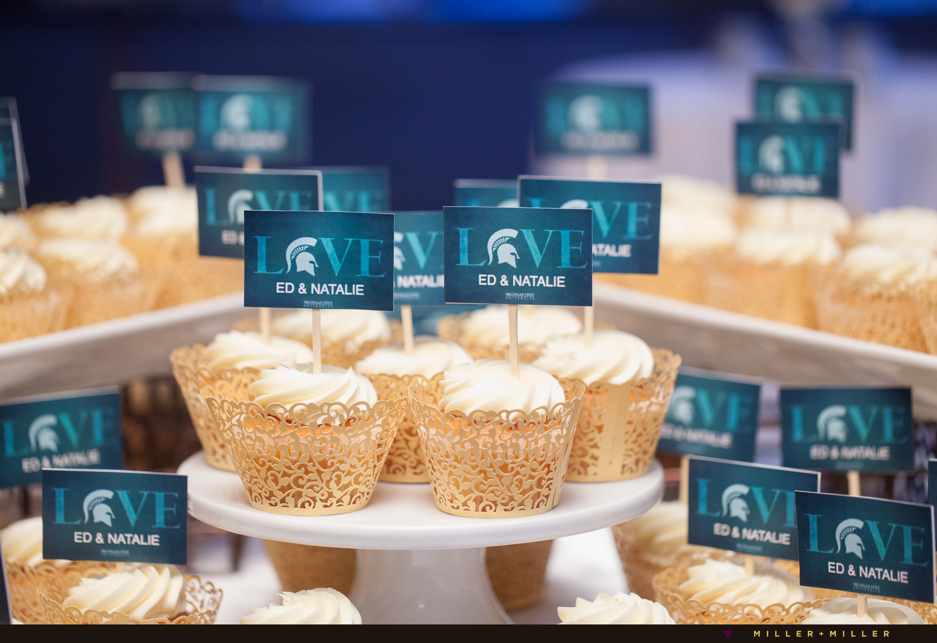 laser cut wedding cupcakes Michigan state spartans