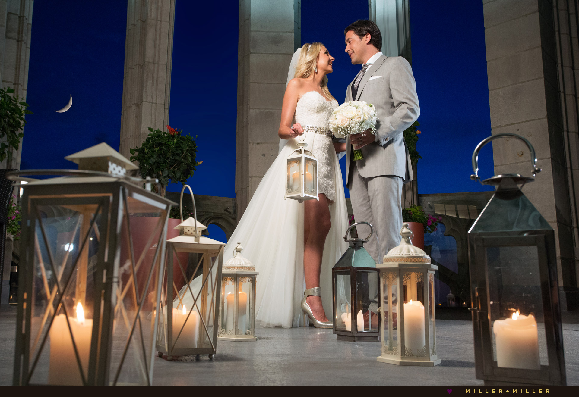 Tribune Tower Chicago wedding night photos
