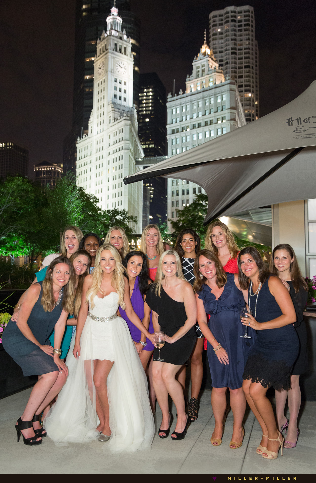 Wrigley Building Night Wedding Photos