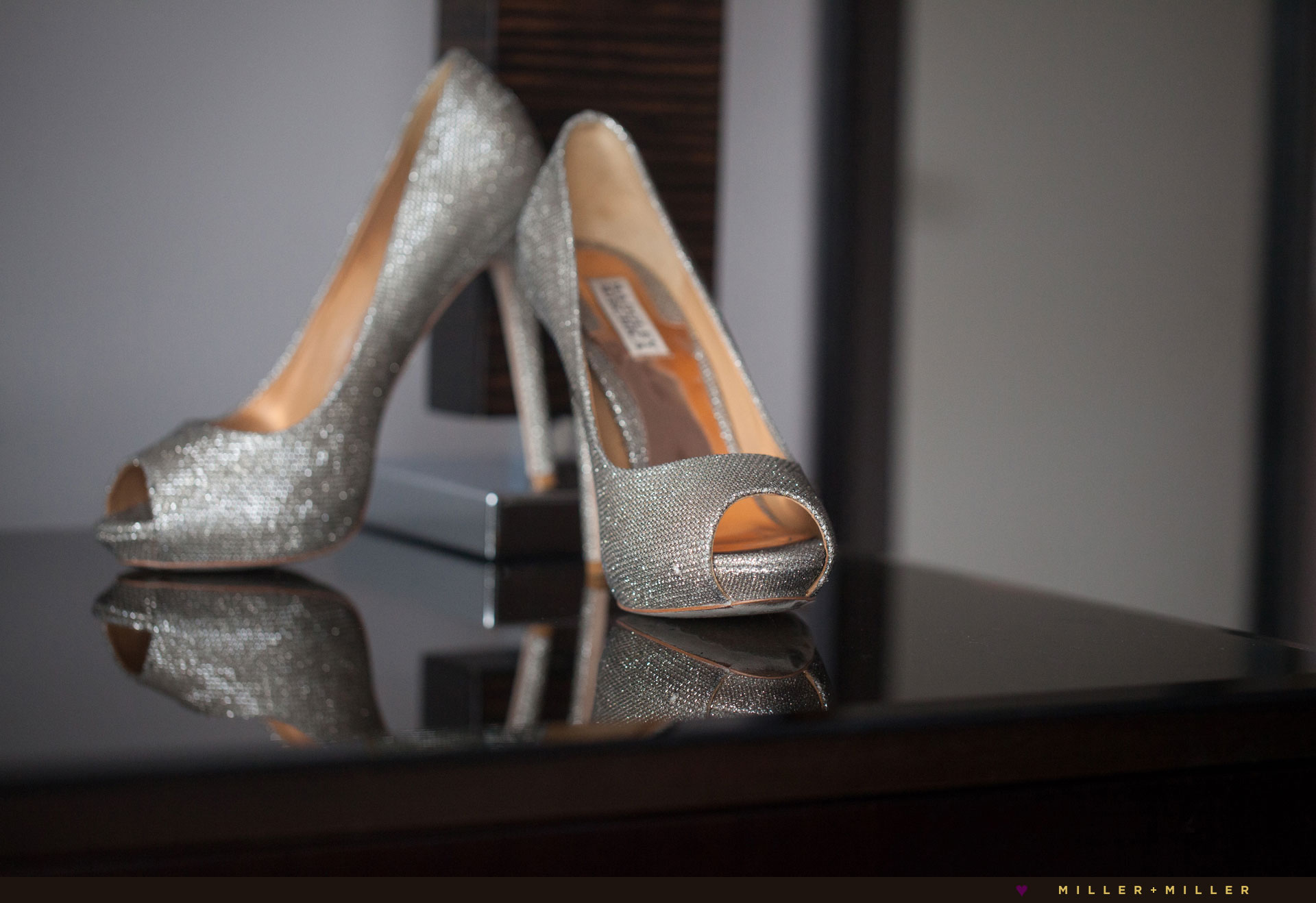 metallic peep toe Badgley Mischka