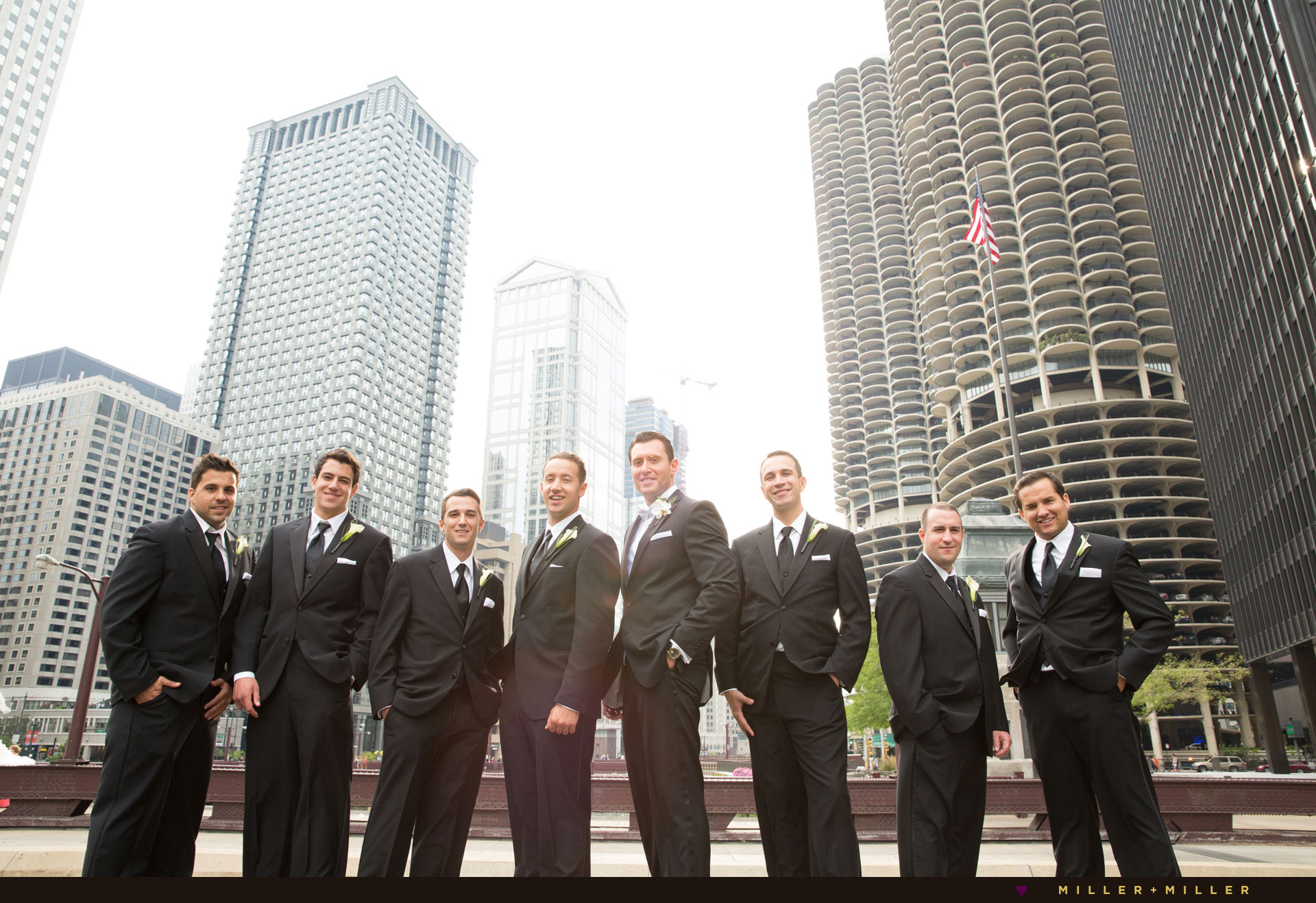 Skyline bridge groomsmen photography