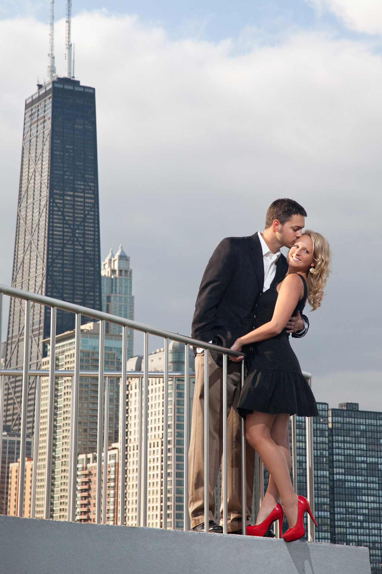 Chicago Skyline Night Engagement Photography