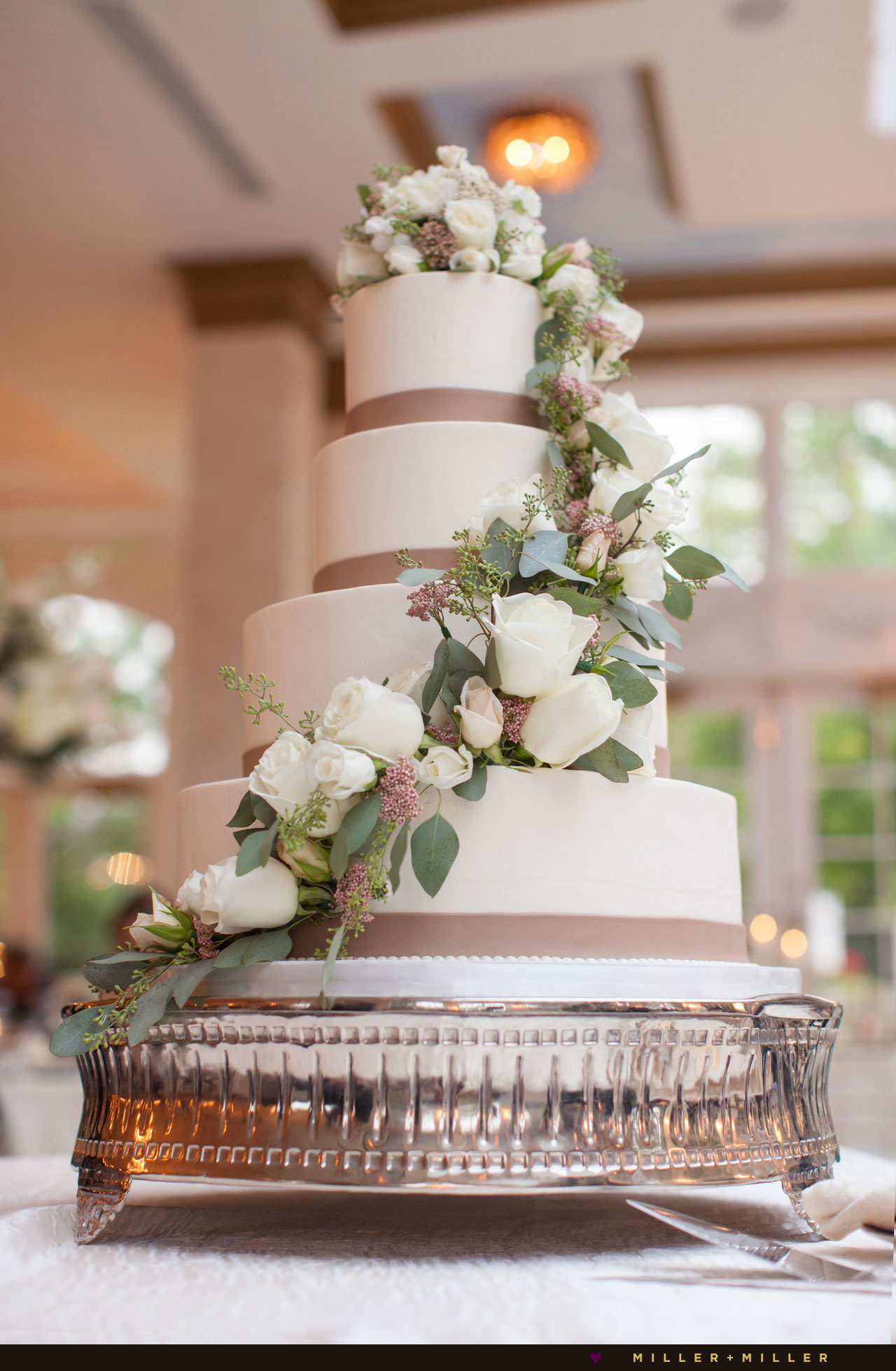 English garden blush pink wedding cake