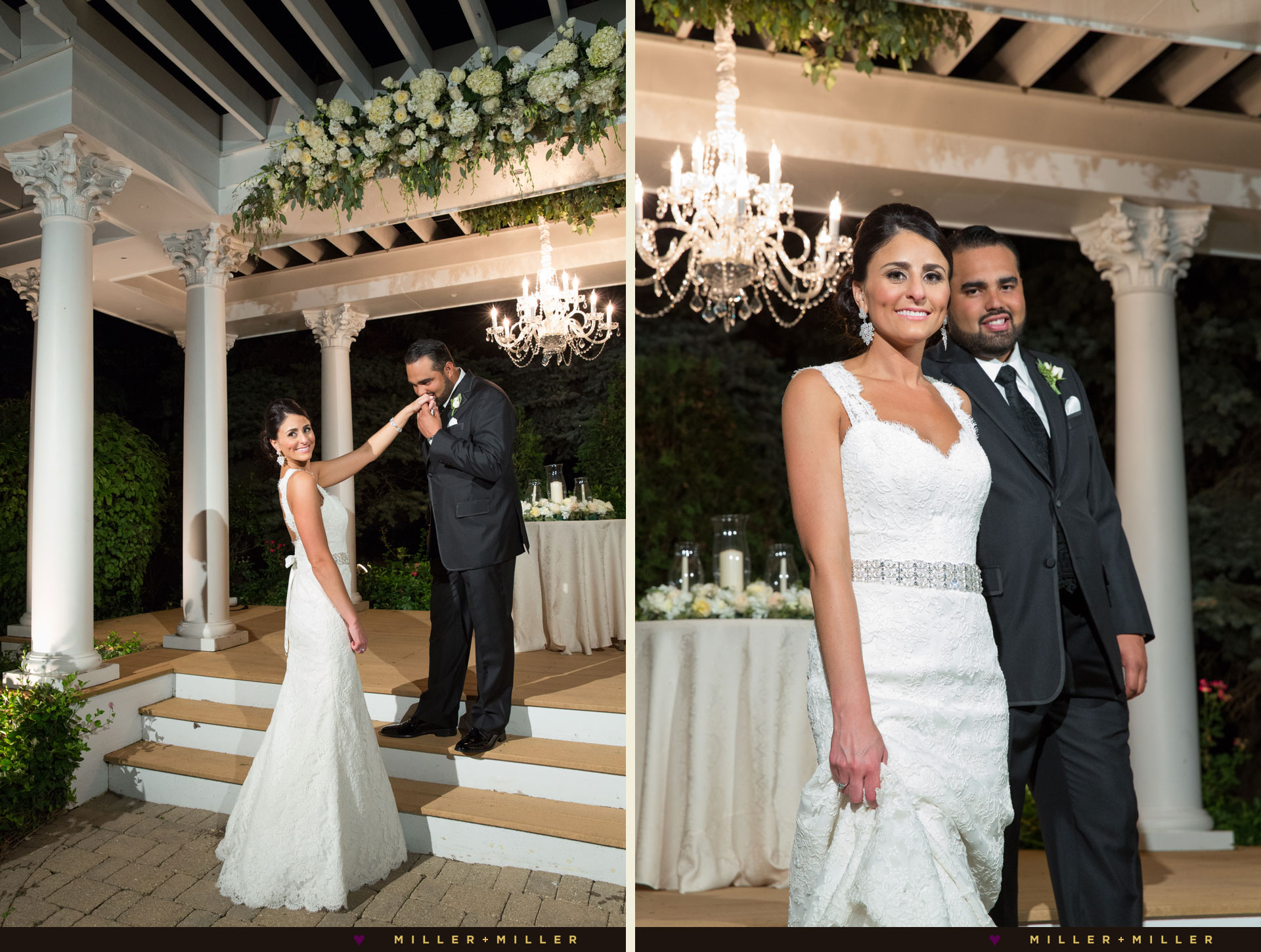 night wedding photos outdoors crystal chandelier pergola