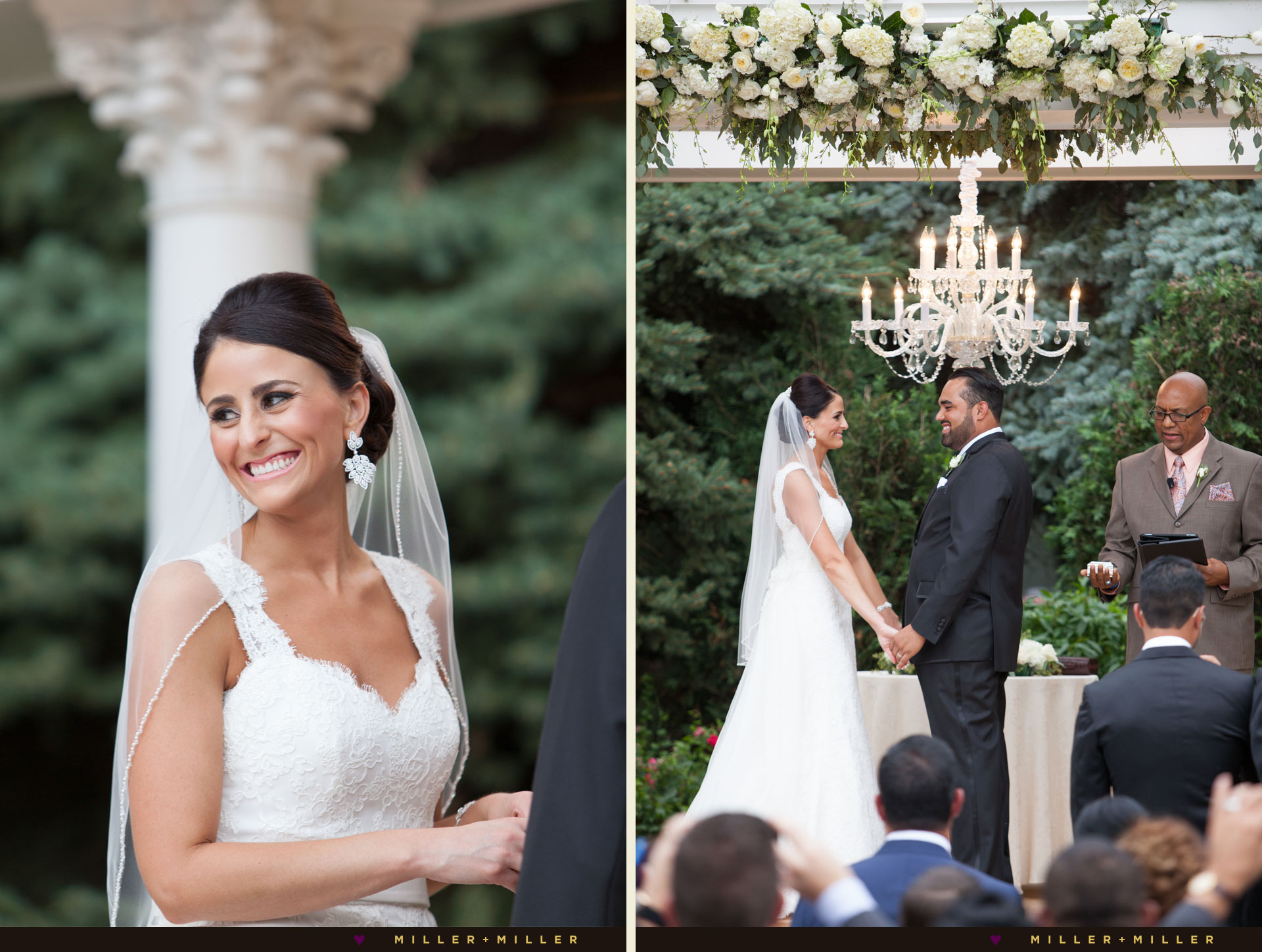 outdoor garden Chicago ceremony under chandelier